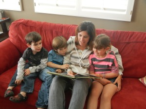 Reading aloud on couch