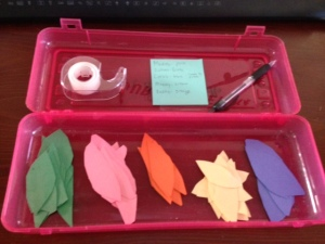 Our pencil box, with leaves ready to go