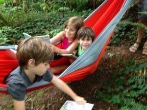 camping, reading in hammock, 2013