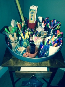 Our Lazy Susan Art Caddy -- with writing and art materials, as well as specific materials for responding to/making books