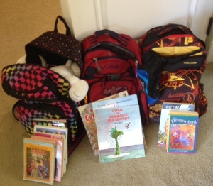 The kids' backpacks all have books for airplane reading